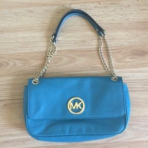 Teal Leather MK Gold Chain Purse